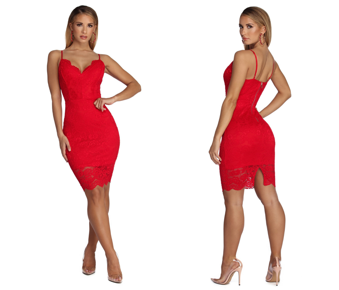Love Me In Lace Dress Red Mini Dress